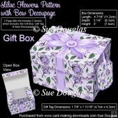 Gift Box Lilac Flowers Pattern with Bow Decoupage