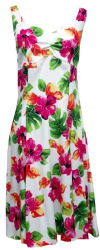 e59b22ef5ca5 Two Palms Womens Hibiscus Watercolor Empire Princess Flare Sundress White  XS Two Palms http:/