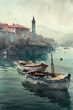 Boats in Perast - watercolor -Dusan Djukaric