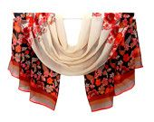 """scarf silk chiffon 57 """"x 24 '' women's fashion accessories, exotic bright red-pink floral pattern on ivory background."""
