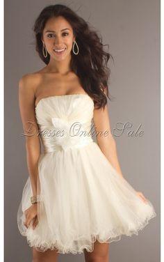 White Noble Sheath Strapless Short Dress