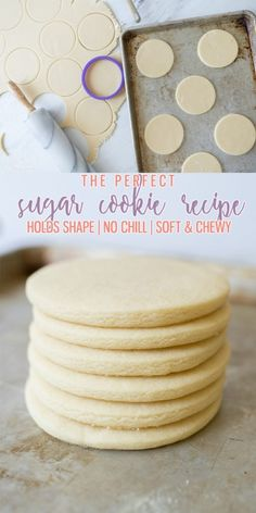 The only Sugar Cookie Recipe you need! Holds shape No chill time Super soft! The only Sugar Cookie Recipe you need! Holds shape No chill time Super soft! Ive been making these for years! Chewy Sugar Cookies, Galletas Cookies, Cookies Et Biscuits, No Chill Sugar Cookies Recipe, Cut Out Sugar Cookies, Sugar Cookie Recipes, Cookie Recipes For Kids, Royal Icing Cookies, Sugar Cookies To Decorate