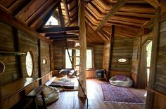 treehouse like wooden interior