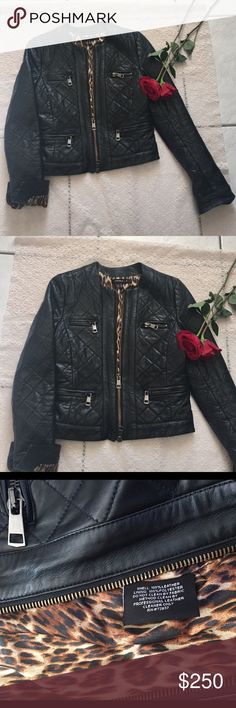 Quilted 100% leather jacket Kenna-T Quilted black 100% genuine leather jacket super cute the lining inside the jacket it's leopard print !! Perfect condition Jackets & Coats
