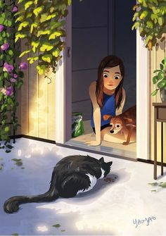 Daily Visitor, an art print by Yaoyao Ma Van As Art And Illustration, Illustrations, Alone Art, Anime Art Girl, Aesthetic Art, Cartoon Art, Cute Drawings, Cat Art, Vintage Posters