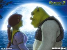 Shrek and Fiona in the moonlight