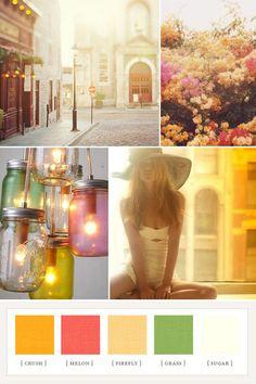 summer days and a gorgeous wedding color palette. via 100 layer cake. Summer Wedding Colors, Summer Colors, Summer Of Love, Summer Days, Late Summer, Spring Summer, Colour Schemes, Color Combos, Mason Jar Lighting
