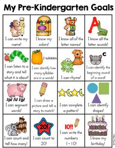 This pre-kindergarten skill goal sheet is a one page sheet of typical skills that a student may learn. It is a fun and very visual way for the kids to see what skills they have mastered and document the child's learning. When a skill has been mastered, the child can put a sticker