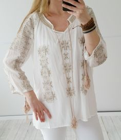 vintage-fashion-design - Tunika Ibiza Ethno in off white Gr.38 40 42