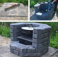 Diy Outdoor Kitchen With Fireplace 33 Ideas For 2019 Fire Pit Grill, Fire Pit Backyard, Backyard Patio, Backyard Landscaping, Diy Outdoor Fireplace, Outdoor Barbeque, Cool Fire Pits, Diy Outdoor Kitchen, Diy Kitchen