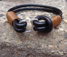 FREE SHIPPING-Men Bracelet-Leather Bracelet-Silver Bracelet-Men's Leather Bracelet-Mens Brown Bracelet-Men Metal Bracelet-Bracelet For Men