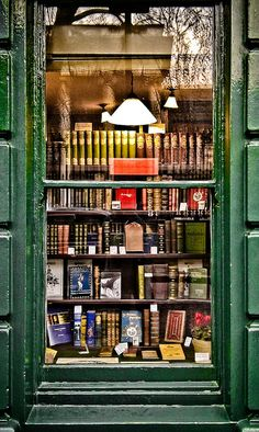 Looking in a bookshop window