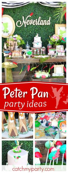 New baby shower ideas disney peter pan birthday parties ideas Shared Birthday Parties, Boy First Birthday, Birthday Party Themes, Gold Birthday, Birthday Ideas, Fête Peter Pan, Peter Pan Party, Birthday Party Centerpieces, Birthday Decorations