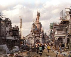 Main Street paving begins with Castle tower in place