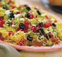My layered taco dip recipe is...layer 1 can refried beans with green chilies in bottom of casserole dish, top with 16 oz sour cream, top with small jar chunky salsa, top with shredded lettuce, top with shredded cheddar, sprinkle with chopped green onion, diced tomato, diced bell pepper (sliced olives are optional in my house) serve with scoops tortilla chips