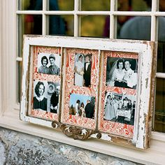 Jessica displayed family wedding photos in an antique window she made into a frame. (from Southern Living website)