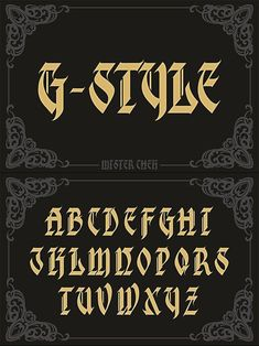 G-Style #font #typography #blackletter #typeface #fontdesign #BestFonts #GothicFont #vintage #bookcover #creativemarket #GraphicDesign #graphic #designresources #BestDesignResources Lettering Fonts Design, Graffiti Lettering Alphabet, Tattoo Fonts Alphabet, Tattoo Lettering Styles, Chicano Lettering, Types Of Lettering, Typography Fonts, Calligraphy Fonts Alphabet, La Santa Muerte Tattoo