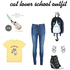 cat lover school outfit  by wolfie112-99 on Polyvore featuring polyvore fashion style Zoe Karssen Ash Sazac MBLife