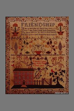Embroidered Sampler Maker: Harriott Cates  (born ca. 1817) Date: 1823 Geography: England Culture: British Medium: Embroidered silk on wool Dimensions: 17 x 14 1/2 in. (43.2 x 36.8 cm) Classification: Textiles