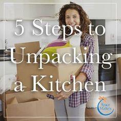 5 Steps to Unpacking a Kitchen ,. , 5 Steps to Unpacking a Kitchen , Moving is stressful. Unpacking is tough. Unpacking After Moving, Unpacking Tips, Moving Day, Moving Tips, Moving House, Moving Hacks, Kitchen Organization Pantry, Home Organization Hacks, Organization Ideas