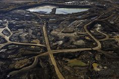 Dramatic photograph of destroyed land from Alberta, Canada tar sands mining operation.