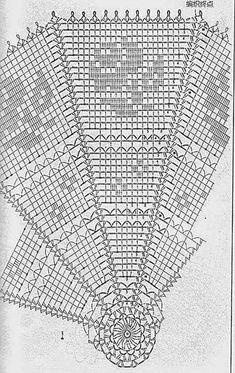 Crochet Tablecloth Pattern, Free Crochet Doily Patterns, Crochet Doily Diagram, Crochet Motifs, Crochet Chart, Thread Crochet, Crochet Designs, Knitting Patterns, Filet Crochet