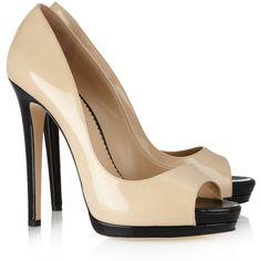 Oscar de la Renta Dina patent-leather peep-toe pumps ($405) ❤ liked on Polyvore