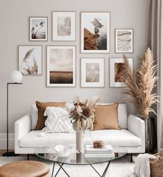 Picture wall with natural posters in earth tones - inspiration picture wall - poster store . - Picture wall with natural posters in earth tones – inspiration picture wall – Posterstore.de Be - Home Living Room, Apartment Living, Living Room Designs, Living Room Gallery Wall, Living Room Wall Ideas, Gallery Walls, Earthy Living Room, Modern Gallery Wall, Living Room Pictures