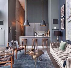 Interiors with monotones | grey kitchen. Living room colours?