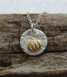 gold pumpkin necklace Halloween necklace mini silver by lynncobb