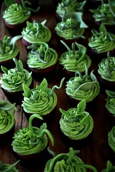 Little Shop of Horrors Cupcakes From The Kitchen (Red Velvet with a squirt of rasberry jam inside topped with Lemon/Lime Buttercream).