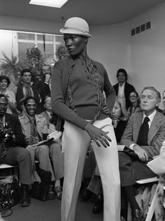 Grace Jones on the runway at Scott Barrie's Spring 1974 show. Photographed by Pierre Schermann for Women's Wear Daily. (via Conde Nast Archive Blog)