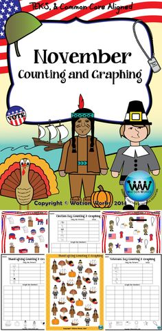 $2.50. In this November counting and graphing activity, students will practice making tally marks, counting, and graphing their totals. This set includes Election Day, Veterans Day, and Thanksgiving themed image sheets and a graphing recording sheet for each.