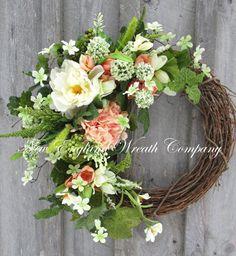 Spring Wreath Easter Wreath Garden Floral door NewEnglandWreath