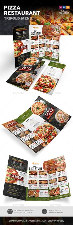 Pizza Restaurant Trifold Menu 3 - Food Menus Print Templates