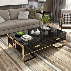 Center Table Living Room, Table Decor Living Room, Coffee Table With Drawers, Black Coffee Tables, Steel Coffee Table, Coffee Table Design, Decorating Coffee Tables, Black And Gold Living Room, Gold Living Rooms