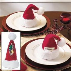 Santa cap (treat bag that doubles as a place holder) - would love these for next Christmas!