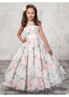 7fac24214a6 Floral Chiffon Ankle Length Flower Girl Dress With Decorated Buttons Long  Frocks For Kids