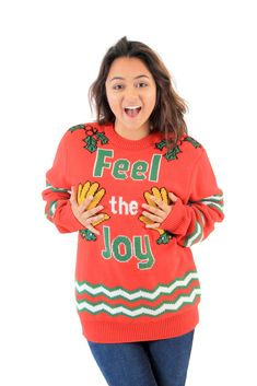 af758b7d0bb8 Feel The Joy Groping Hands Tacky Ugly Christmas Sweater
