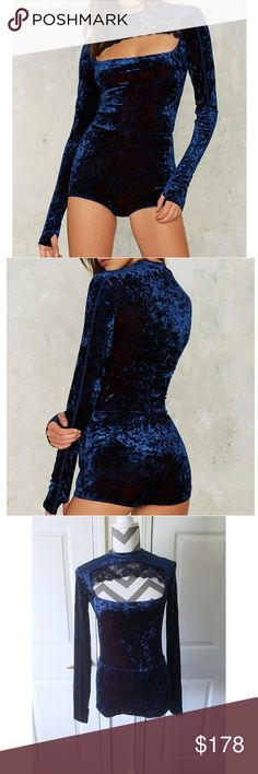 Hot as Hell Hole in 1 Cut-out Bodysuit - Navy Crushed Stretch Velvet - Cut-out at front - Lace & stitch detailing - Fitted  - Full bottom coverage - Snap closure at crotch - Poly 56% Nylon 35% Spandex 9% - Condition: NWT   Don't like the price? Send me an offer! Offers welcomed through offer button only ☺  NO TRADES! NO 🅿🅿! NO ♏eRc! Hot as Hell Intimates & Sleepwear