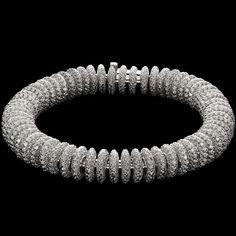 Mattia Cielo - Bruco - Small soft bracelet in 750/1000 white gold - white diamond full pavè ct. 23,80 LJWB164
