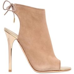 JIMMY CHOO 115mm Flume Suede Cage ($394) ❤ liked on Polyvore featuring shoes, heels, boots, sandals, sapatos, nude, nude shoes, jimmy choo shoes, open toe high heel shoes and nude suede shoes