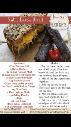 """""""Low-carb is Lekker"""". South African guide to health, tips and recipes. Banting Bread, Banting Diet, Banting Recipes, Low Carb Recipes, New Recipes, Real Food Recipes, Cooking Recipes, Lchf, Bread Recipes"""