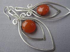 Silver wire EArrings With Orange Quartzite/ Artisan Earrings /Statement  Earrings