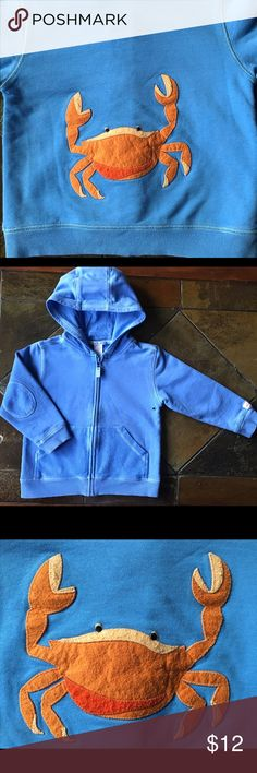 Janie and Jack size 3T hoodie crab blue sweatshirt This is a cute zip up hoodie from Janie and Jack in size 3T.  Blue 100% soft cotton with a cute crab on the back.  Padded elbows too.  Gently used condition! Janie and Jack Shirts & Tops Sweatshirts & Hoodies