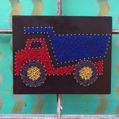 $29 Etsy String Art Dumptruck, Construction Wall Art, String Art Truck, Construction Nursery Art, Truck Nursery Sign, Boys Room Decor, Custom Made