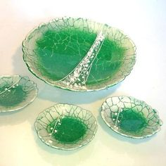 'Emerald Phoenix' - these pieces have been entered into the Warm Glass UK's competition.