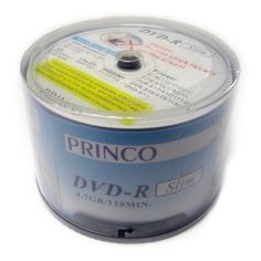 """DVD-R 24x Princo Slim White Logo 4.7GB High Quality Blank Media 60pcs Discs by Princo. $10.99. """" Fast Domestic Delivery in 3~4 days Secured , for orders through Gigablockshop """" """" Product ship from California, USA. """"     Princo produces a slim version of the original DVD-R.  The normal thickness of a DVD-R is 1.2 mm.  The slim version is 1.0 mm.  This enables higher physical storage capacity using spindle or cakebox.  The disc also writes at an amazing 24X which makes i..."""