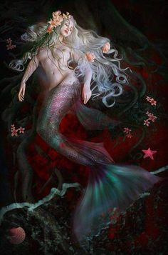 Hearted Mermaid who longs to walk on land to find true love! Siren Mermaid, Mermaid Tale, Fantasy Mermaids, Mermaids And Mermen, Fantasy Creatures, Mythical Creatures, Mermaid Tattoos, Merfolk, The Little Mermaid