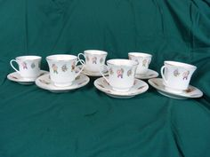 6 Vintage Cathay China Cup 6 Saucer Chinese Characters Men Made In China White #CathayChina